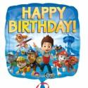 Paw Patrol, Luftballon, Happy Birthday, Folienballon ohne Ballongas