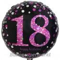 Luftballon aus Folie, Pink Celebration 18, zum 18. Geburtstag, mit Helium