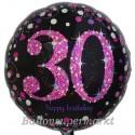Luftballon aus Folie zum 30.Geburtstag, Pink Celebration 30, ohne Helium