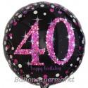 Luftballon aus Folie, Pink Celebration 40, zum 40. Geburtstag, mit Helium