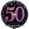 Luftballon aus Folie, Pink Celebration 50, zum 50. Geburtstag, mit Helium