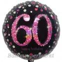 Luftballon aus Folie, Pink Celebration 60, zum 60. Geburtstag, mit Helium