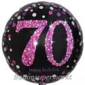 Luftballon aus Folie zum 70. Geburtstag, Pink Celebration 70, ohne Helium
