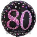 Luftballon aus Folie, Pink Celebration 80, zum 80. Geburtstag, mit Helium