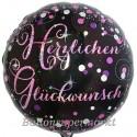 Geburtstags-Luftballon Pink Celebration Herzlichen Glückwunsch, ohne Helium