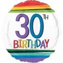 Luftballon aus Folie, Rainbow Birthday 30, zum 30. Geburtstag, mit Helium