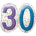 Zahlen-Luftballon zum 30. Geburtstag, Rainbow Birthday 30, Folienballon mit Ballongas