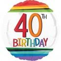 Luftballon aus Folie zum 40.Geburtstag, Rainbow Birthday 40, ohne Helium