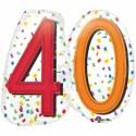 Zahlen-Luftballon zum 40. Geburtstag, Rainbow Birthday 40, Folienballon mit Ballongas
