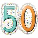 Zahlen-Luftballon zum 50. Geburtstag, Rainbow Birthday 50, Folienballon mit Ballongas