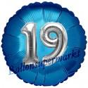 Jumbo 3D Luftballon, Silber und Blau  zum 19. Geburtstag, Jumbo-Folienballon mit Ballongas