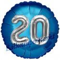 Jumbo 3D Luftballon, Silber und Blau  zum 20. Geburtstag, Jumbo-Folienballon mit Ballongas