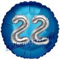 Jumbo 3D Luftballon, Silber und Blau  zum 22. Geburtstag, Jumbo-Folienballon mit Ballongas