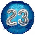 Jumbo 3D Luftballon, Silber und Blau  zum 23. Geburtstag, Jumbo-Folienballon mit Ballongas
