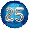 Jumbo 3D Luftballon, Silber und Blau  zum 25. Geburtstag, Jumbo-Folienballon mit Ballongas
