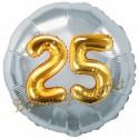 Jumbo 3D Luftballon, Gold und Silber  zum 25. Geburtstag, Jumbo-Folienballon mit Ballongas
