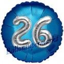 Jumbo 3D Luftballon, Silber und Blau  zum 26. Geburtstag, Jumbo-Folienballon mit Ballongas