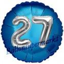 Jumbo 3D Luftballon, Silber und Blau  zum 27. Geburtstag, Jumbo-Folienballon mit Ballongas