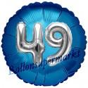 Jumbo 3D Luftballon, Silber und Blau  zum 49. Geburtstag, Jumbo-Folienballon mit Ballongas