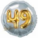 Jumbo 3D Luftballon, Gold und Silber  zum 49. Geburtstag, Jumbo-Folienballon mit Ballongas