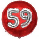 Luftballon Jumbo 3D, Silber und Rot  zum 59. Geburtstag, Jumbo-Folienballon mit Ballongas
