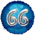Jumbo 3D Luftballon, Silber und Blau  zum 66. Geburtstag, Jumbo-Folienballon mit Ballongas
