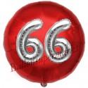 Luftballon Jumbo 3D, Silber und Rot  zum 66. Geburtstag, Jumbo-Folienballon mit Ballongas