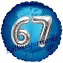 Jumbo 3D Luftballon, Silber und Blau  zum 67. Geburtstag, Jumbo-Folienballon mit Ballongas