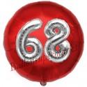 Luftballon Jumbo 3D, Silber und Rot  zum 68. Geburtstag, Jumbo-Folienballon mit Ballongas