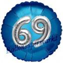 Jumbo 3D Luftballon, Silber und Blau  zum 69. Geburtstag, Jumbo-Folienballon mit Ballongas