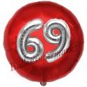Luftballon Jumbo 3D, Silber und Rot  zum 69. Geburtstag, Jumbo-Folienballon mit Ballongas