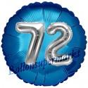 Jumbo 3D Luftballon, Silber und Blau  zum 72. Geburtstag, Jumbo-Folienballon mit Ballongas