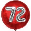 Luftballon Jumbo 3D, Silber und Rot  zum 72. Geburtstag, Jumbo-Folienballon mit Ballongas