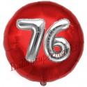 Luftballon Jumbo 3D, Silber und Rot  zum 76. Geburtstag, Jumbo-Folienballon mit Ballongas