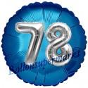 Jumbo 3D Luftballon, Silber und Blau  zum 78. Geburtstag, Jumbo-Folienballon mit Ballongas