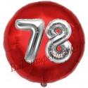Luftballon Jumbo 3D, Silber und Rot  zum 78. Geburtstag, Jumbo-Folienballon mit Ballongas