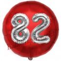 Luftballon Jumbo 3D, Silber und Rot  zum 82. Geburtstag, Jumbo-Folienballon mit Ballongas