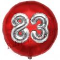 Luftballon Jumbo 3D, Silber und Rot  zum 83. Geburtstag, Jumbo-Folienballon mit Ballongas