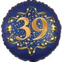 Luftballon aus Folie zum 39. Geburtstag, Satin Navy Blue, 45 cm, rund, inklusive Helium