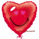 Folienballon Smiley Herz, Herzballon, Emoji, 43 cm, inklusive Ballongas