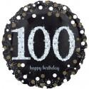 Luftballon aus Folie, Sparkling Birthday 100, zum 100. Geburtstag, mit Helium
