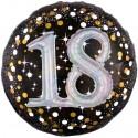 Sparkling Birthday Jumbo 3D zum 18. Geburtstag, Jumbo-Folienballon mit Ballongas