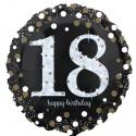 Luftballon aus Folie zum 18.Geburtstag, Sparkling Birthday 18, ohne Helium