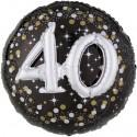 Sparkling Birthday Jumbo 3D zum 40. Geburtstag, Jumbo-Folienballon mit Ballongas