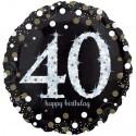 Sparkling Birthday Jumbo zum 40. Geburtstag, Jumbo-Folienballon mit Ballongas
