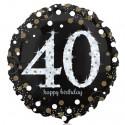 Luftballon aus Folie zum 40.Geburtstag, Sparkling Birthday 40, ohne Helium
