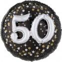 Sparkling Birthday Jumbo 3D zum 50. Geburtstag, Jumbo-Folienballon, ohne Helium
