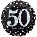 Sparkling Birthday Jumbo  zum 50. Geburtstag, Jumbo-Folienballon mit Ballongas