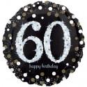 Sparkling Birthday Jumbo zum 60. Geburtstag, Jumbo-Folienballon mit Ballongas