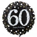 Luftballon aus Folie, Sparkling Birthday 60, zum 60. Geburtstag, mit Helium